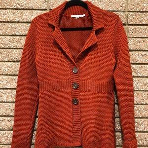 Knitted Rust blazer with  plenum detail